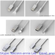 China Foxconn MFi Lightning Cables with LED, USB cables for iPhone 5S,iPhone 6, iPhone 6 plus, iPhone 7,iPad, iPod supplier